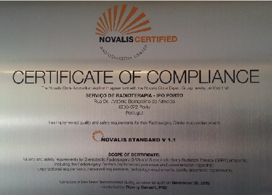 Radioterapia certificada pela Novalis